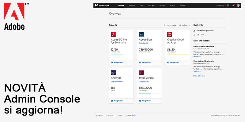 Adobe Admin Console si aggiorna