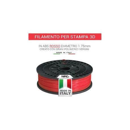 Filamento ABS per stampante/penna 3D 200gr - Rosso - plastica in granulo vergine