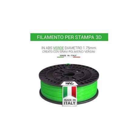 Filamento ABS per stampante/penna 3D 200gr - Verde - plastica in granulo vergine
