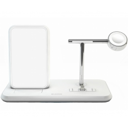 SUPPORTO RICARICA WIRELESS QI + LIGHTNING DOCK+WATCH - ALLUMINIO BIANCO
