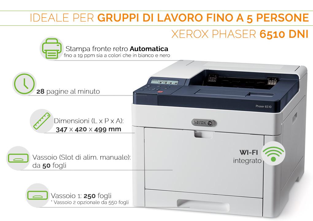 Xerox Phaser 6510 DNI ideale per gruppi di lavoro fino a 5 persone