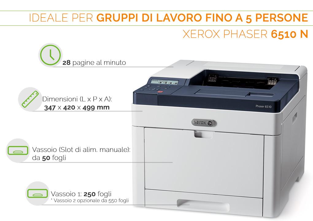 Xerox Phaser 6510 N ideale per gruppi di lavoro fino a 5 persone