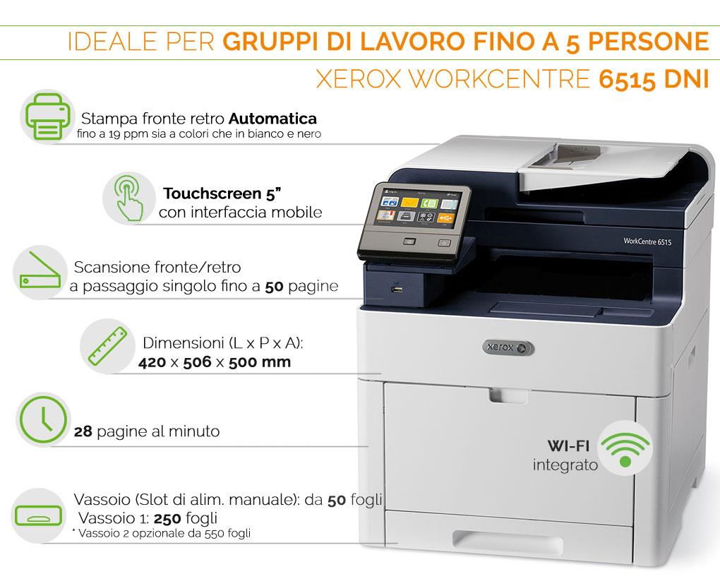 Xerox Phaser 6515 DNI ideale per gruppi di lavoro fino a 5 persone