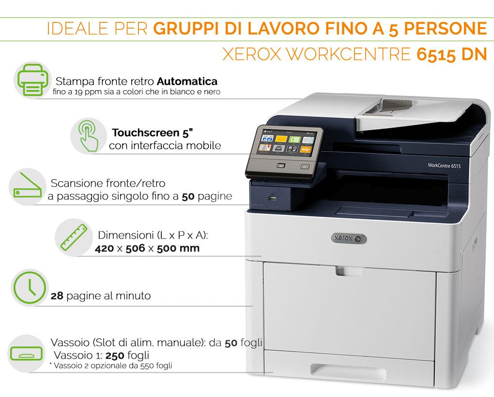 Xerox Phaser 6515 DN ideale per gruppi di lavoro fino a 5 persone
