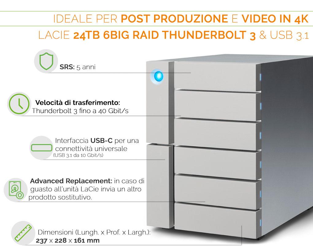 LaCie 6big RAID Thunderbolt 3 USB 3.1 ideale per post produzione e video editing