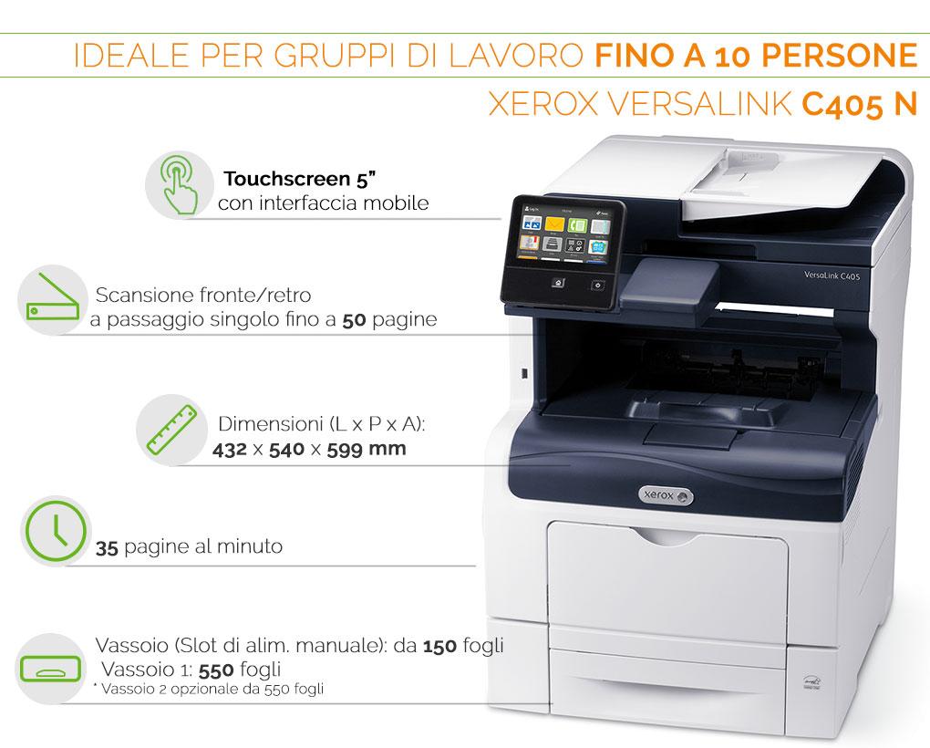Xerox VersaLink C405 N ideale per gruppi di lavoro fino a 10 persone