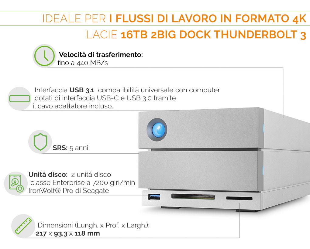 LaCie 2Big Dock Thunderbolt 3 ideale per i flussi di lavoro in formato 4K