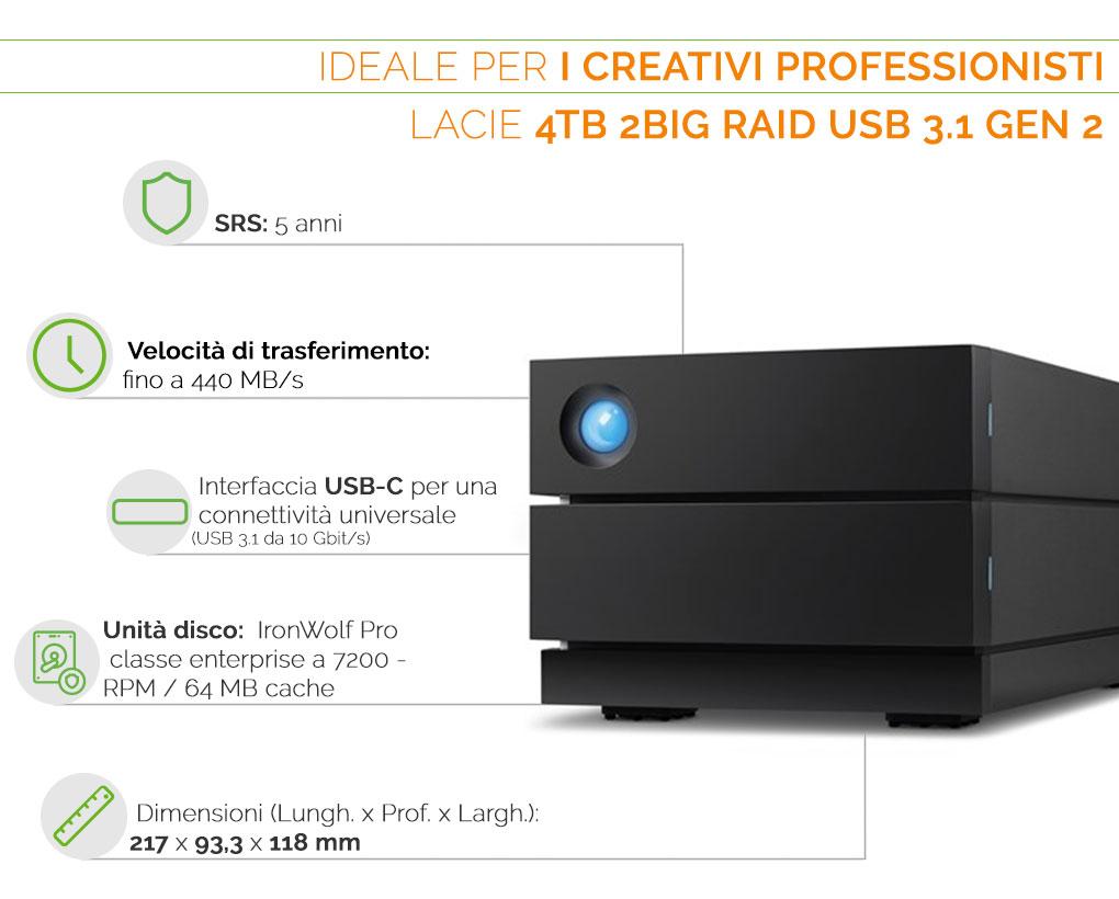 LaCie 2big RAID 4 tb USBC- ideale per i creativi professionisti