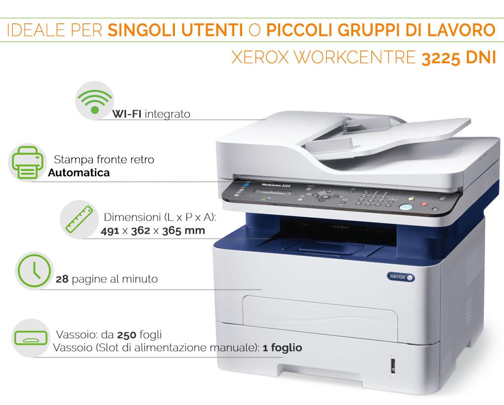 Xerox WorkCentre 32225 DNI ideale per piccoli gruppi di lavoro o singoli utenti