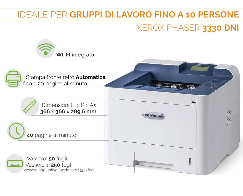 Xerox Phaser 3330 DNI ideale per gruppi di lavoro fino a 10 persone