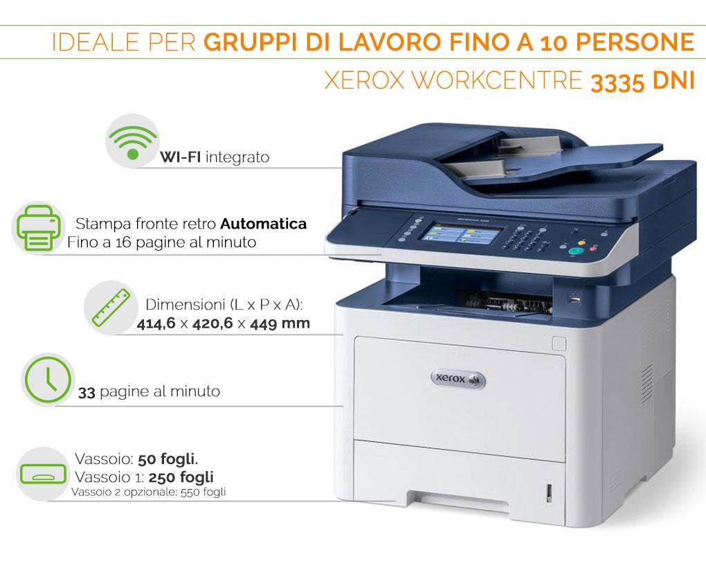 Xerox WorkCentre 3335 DNI ideale per gruppi di lavoro fino a 10 persone