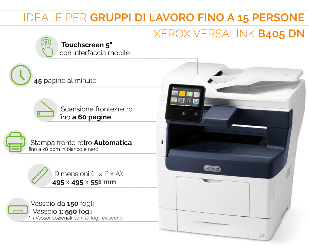Xerox VersaLink B405 ideale per gruppi di lavoro fino a 15 persone