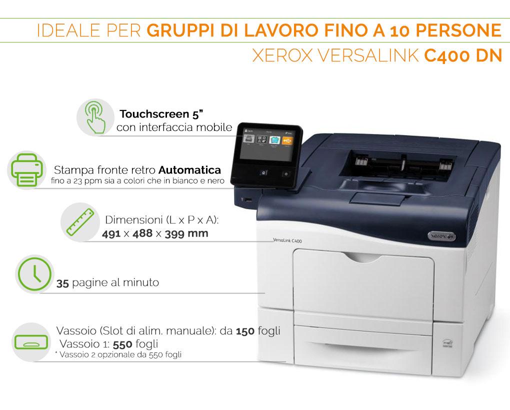 Xerox VersaLink C400 DN ideale per gruppi di lavoro fino a 10 persone