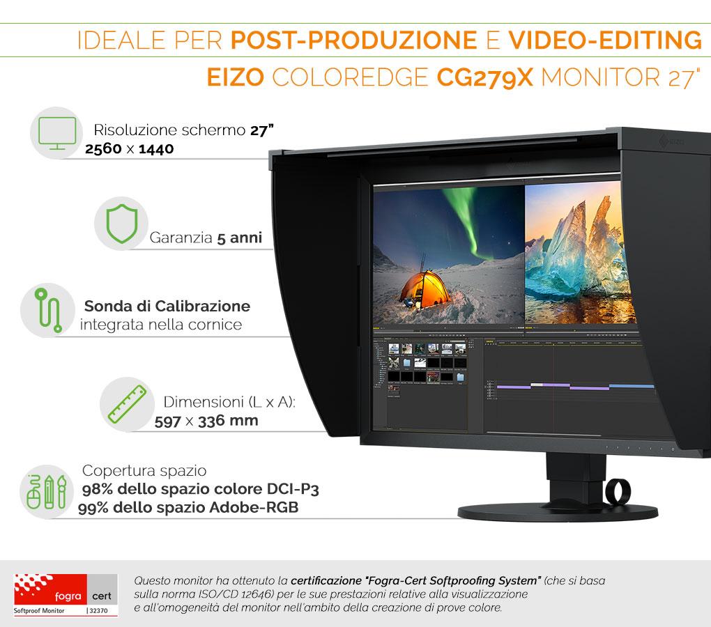 Eizo ColorEdge CG279X il monitor dedicato a post-produzione e video-editing