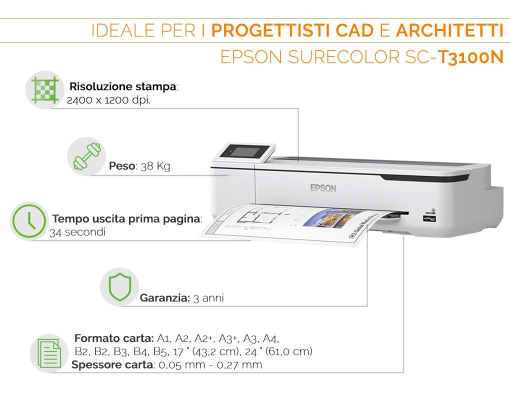 Epson SureColor SC T 3100 N il plotter ideale per progettisti CAD e architetti