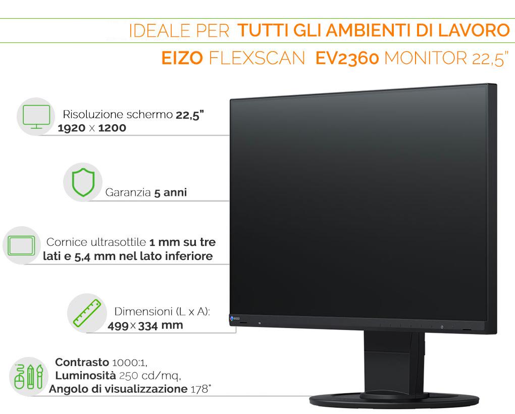 EIZO EV2360 monitor ideale per tutti gli ambienti di lavoro