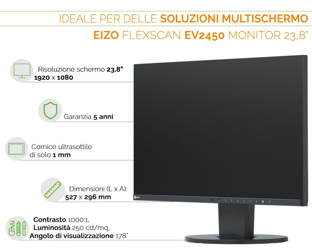 EIZO FlexScan EV2450 ideale per multischermi