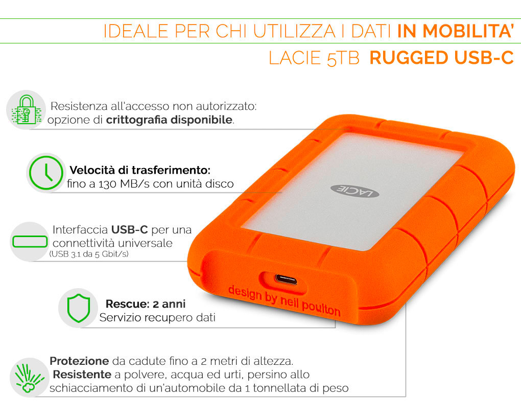 LaCie Rugged USB-C hd ideale per chi utilizza i dati in mobilità