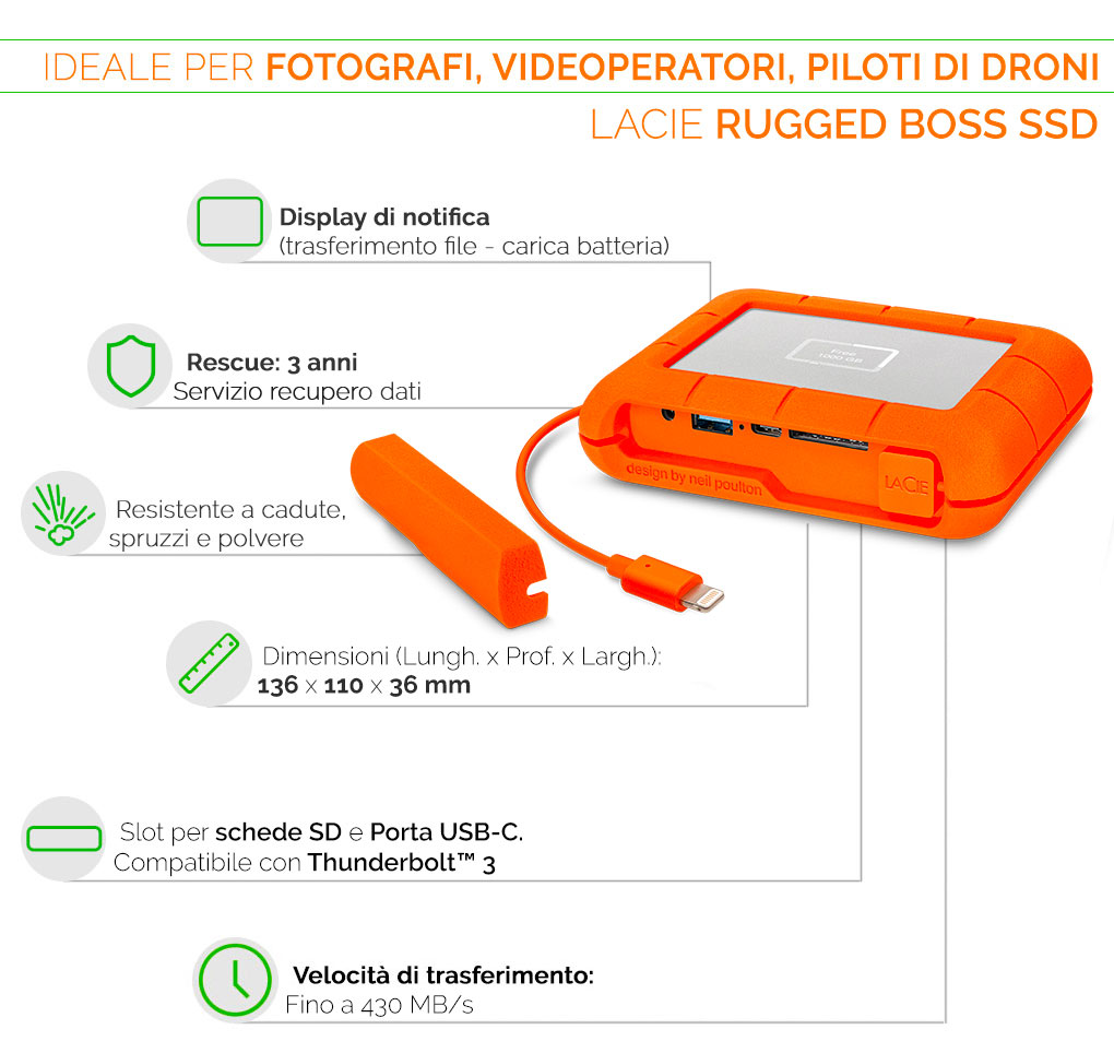 LaCie rugged boss ssd ideale per registi e fotografi
