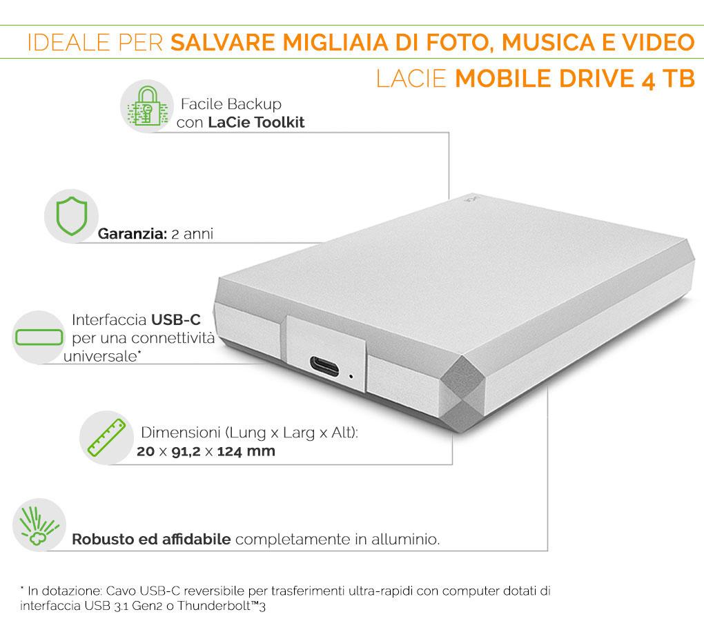 LACIE MOBILE DRIVE l'hard disk ideale per salvare migliaia di foto musica e video