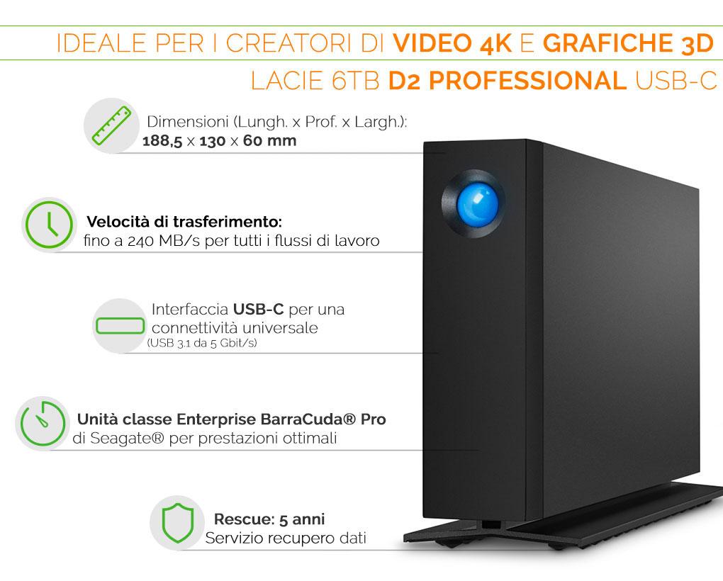 LaCie d2 Professional ideale per video in 4K e grafiche 3D