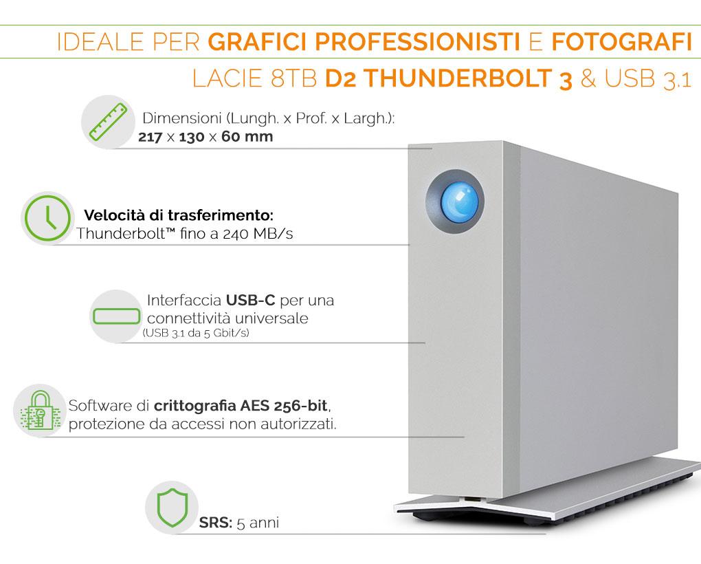LaCie d2 Thunderbolt 3 USB 3.1 ideale per fotografi e grafici professionisti