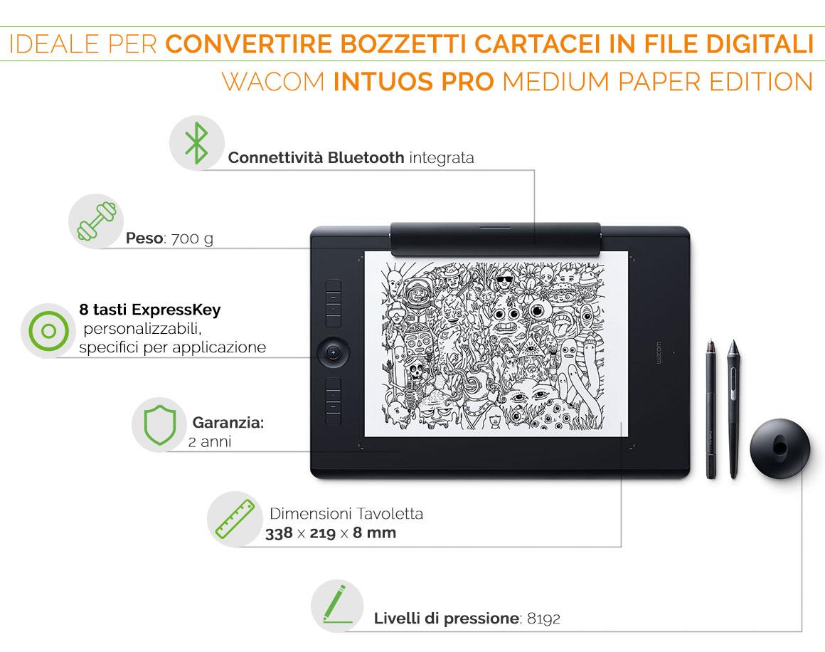 Wacom Intuos Pro Medium Paper Edition la tavoletta grafica ideale per convertire bozzetti cartacei in file digitali