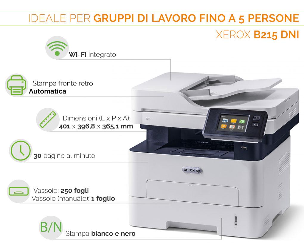 Xerox B215 DNI ideale per gruppi di lavoro fino a 5 persone