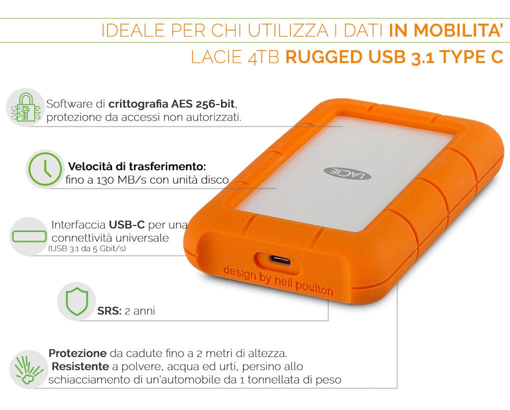 LaCie 4TB Rugged USB 3.1 TYPE C Ideale per chi utilizza i dati in mobilità