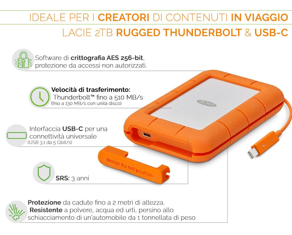 LaCie 2TB Rugged Thunderbolt USB-C ideale per chi viaggia