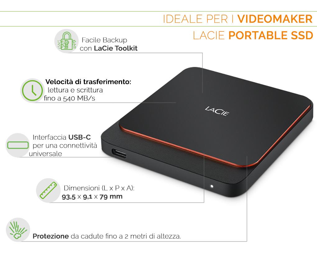 LaCie Portable SSD, ideale per videomaker