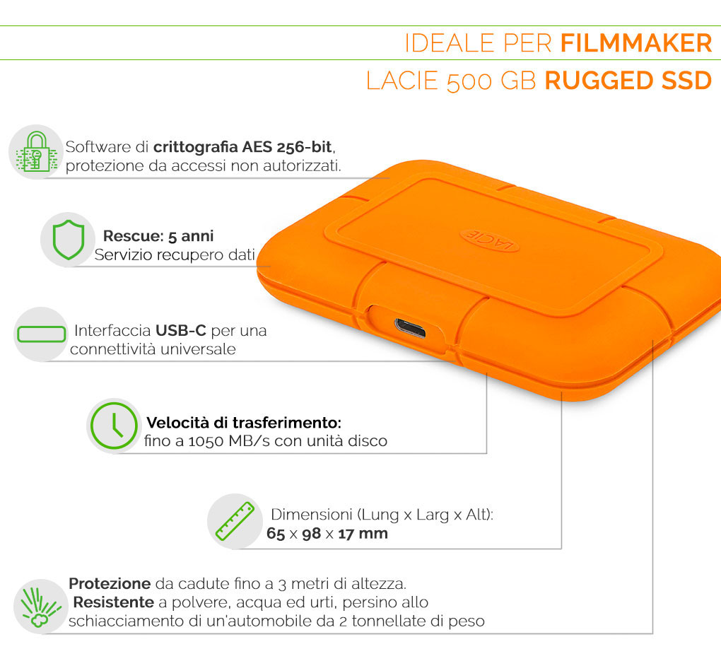 LaCie Rugged SSD 500GB ideale per filmmaker