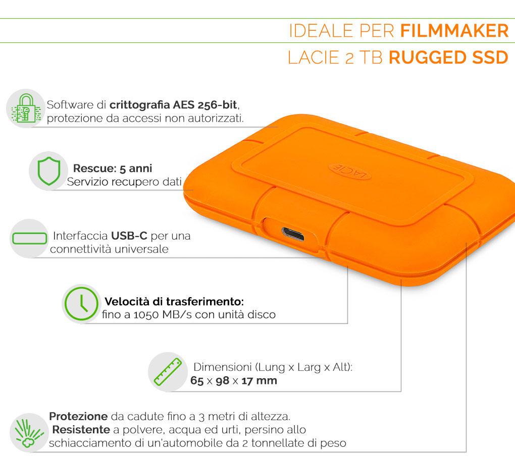 LaCie Rugged SSD 2TB ideale per filmmaker